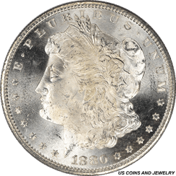 1880-S Morgan Silver Dollar PCGS MS65 Blast White Coin Old Rattler