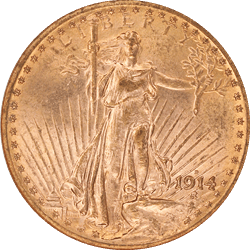 1914-D Saint St. Gaudens $20 Gold Double Eagle NGC MS 62