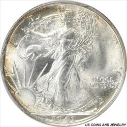 1941-S Walking Liberty Half Dollar PCGS MS65 Frosty Gem Brilliant Luster