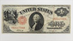 1917 $1 Legal Tender Note, S/N H82147799A,  Circulated Very Fine