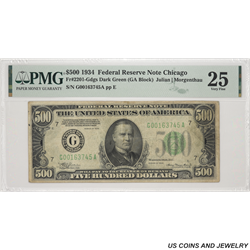 1934 $500 Federal Reserve Note Chicago PMG VF25 FR#2201-Gdgs SN# G00163745A