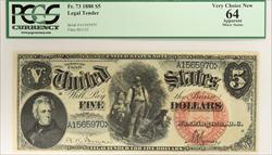 1880 $5 Legal Tender PCGS Currency VCN64 FR#73 Bruce Wyman SN# A1565970