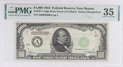 $1000 1934 FRN Boston S/N:A00026860A PMG Choice VF 35