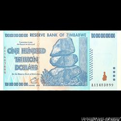 Zimbabwe One Hundred Trillion Dollars Choice Uncirculated