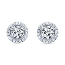 1.94cttw GIA Certified Round Brilliant Diamond Halo Stud Earrings in 14k White Gold