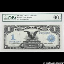$1 1899 Black Eagle Silver Certificate FR 226a SN A67139805 PMG GU 66 EPQ