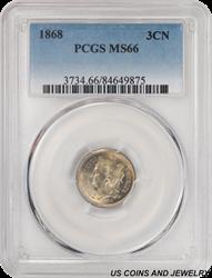 1868 Three Cent Nickel PCGS