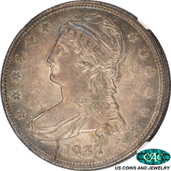 1837 Capped Bust Half Dollar NGC and CAC MS 63