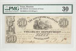 Texas, Houston $50 Gov of Texas Note PMG VF30 TXCRH21 S/N838 PP A