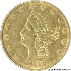 1853 $20 Moffat & Co $20 Gold Piece PCGS VF35 California Private Coinage