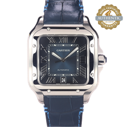 Cartier Blue Santos Wssa0030  Stainless Steel and 2 Leather Straps With Box and Card