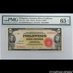 Philippines Treasury Silver Certificate 5 Pesos 1936 Pick 83a; PMG 65 EPQ - Super Nice Note