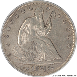 1874-S Seated Liberty Half Dollar PCGS AU50 Rare Low Mintage Coin