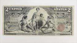 1896 $2 Silver Certificate S/N 19624557 $2 Educational  Circulated Fine