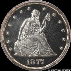 1877 Twenty Cent Piece CAMEO PROOF PCGS PR63CAM Black and White CAMEO Proof