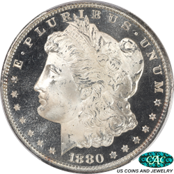 1880-S Morgan Silver Dollar PROOF LIKE PCGS and CAC MS67+ PL Black and White Proof Like Strike