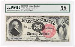 1880 $20 Legal Tender PMG CAU 58 Fr# 135 S/N A1798479