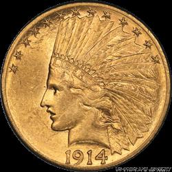 1914-S Indian $10 Gold Eagle PCGS AU58 Low Mintage Better Date