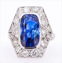 Sapphire GIA (No treatment) Approx 6.5 ct WG18K Ring w antique Diamond Setting