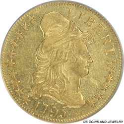 1795  Capped  Bust Right $5 Gold Half Eagle Small Eagle  PCGS AU55