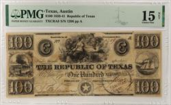 1839-41 Republic of Texas, Oct 16, 1839, SN 1206 PMG CF 15 Net TXCRA8