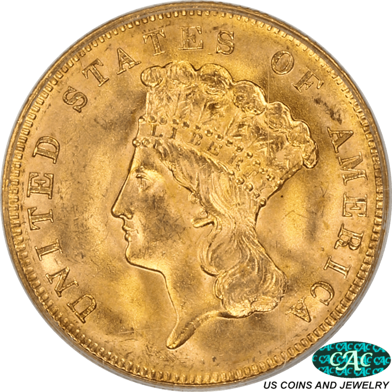 1878 Indian Princess Head  Three Dollar Gold Piece PCGS and CAC