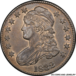1832 Capped Bust Half Dollar Small Letters PCGS AU50 Sharp Coin with a Beautiful Patina