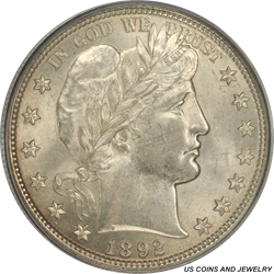 1892-P Barber Half Dollar PCGS MS61 - White in an Older PCGS Holder