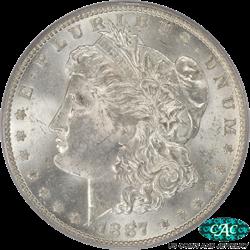 1887/6-O Morgan Silver Dollar PCGS MS-62 CAC