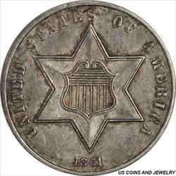 1861 Three Cent Silver Trime AU Great Type Set Coin