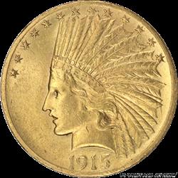 1915 Indian $10 Gold Eagle Choice AU