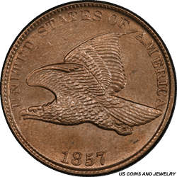 1857 Flying Eagle Cent PCGS UNC Detail - Cleaned