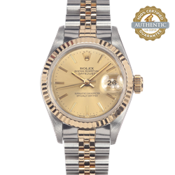 Rolex 26mm Date Just 69173 Two Tone Jubilee Band with Champagne Stick Dial COMPLETE