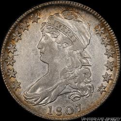 1807  Capped Bust Half Dollar O-112 Lg Stars 50/20 PCGS XF45 Secure Gold Shield