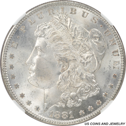 1881 Morgan Silver Dollar NGC MS65 Frosty White Rolling Luster