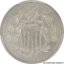 1867 Shield Nickel With Rays PCGS MS62