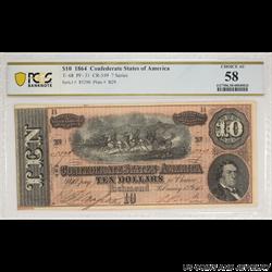 1864 $10 Confederate States of America Note PCGS Choice AU 58;  T-68; CR-549