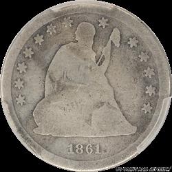1861-S Seated Liberty Quarter PCGS G04