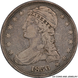 1836 Capped Bust Half Dollar PCGS F12 Reeded Edge