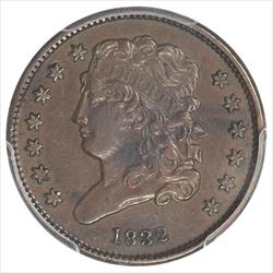 1832 Classic Head  Half Cent PCGS XF45 Chocolate Brown Color