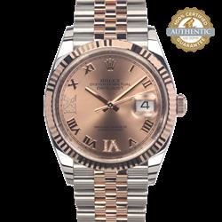 Rolex 36mm Datejust 126231 TT SS and 18K RG Roman VI IX Diamond Watch and Card