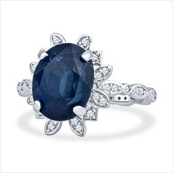 5.96ct Natural Deep Blue Great Color Oval Cut Sapphire and Diamond Vintage Ring