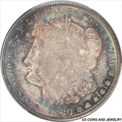 1880-S Morgan Silver Dollar PCGS MS67 Halo Toned Surfaces