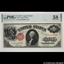 1917 $1 LEGAL TENDER FR# 37 SN E53444306A PMG CAU 58