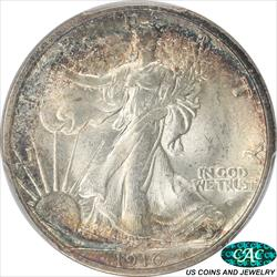 1916-D Walking Liberty Half Dollar PCGS and CAC
