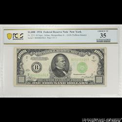1934 $1000  Federal Reserve Note Fr. 2211-B, New York, PCGS 35 Choice Very Fine