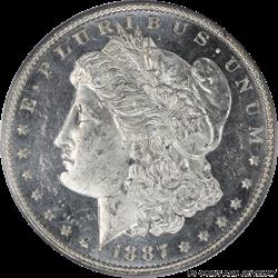 1887 Morgan Silver Dollar PCGS MS64DMPL