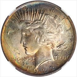 1922 Peace Dollar NGC MS63 Colorfully Toned