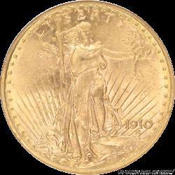 1910 Saint St. Gaudens $20 Gold Double Eagle NGC MS 62