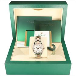 Rolex 31mm DateJust 178271 TT 18K and SS White 10 DD Card and Box